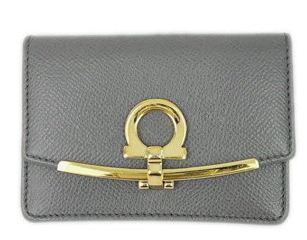 Salvatore Ferragamo Grey Gancini Leather Cardholder Wallet