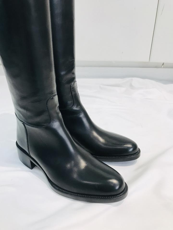 Sartore Black Zip Buckle Riding Boots Size 35.5