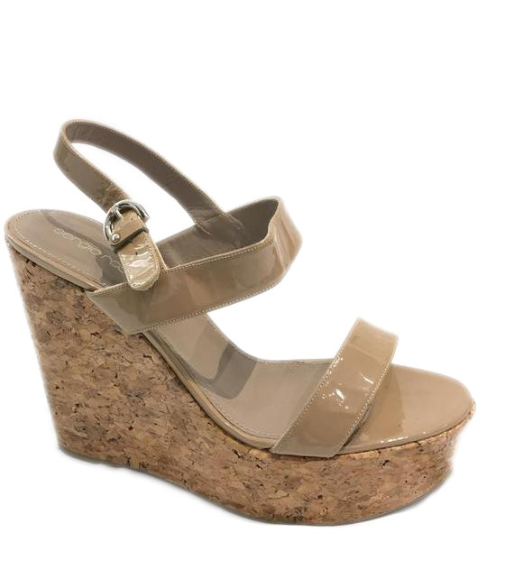 Sergio Rossi Taupe Patent Sandals Wedges Size EU 40.5 (US 10.5) Regular (M, B)