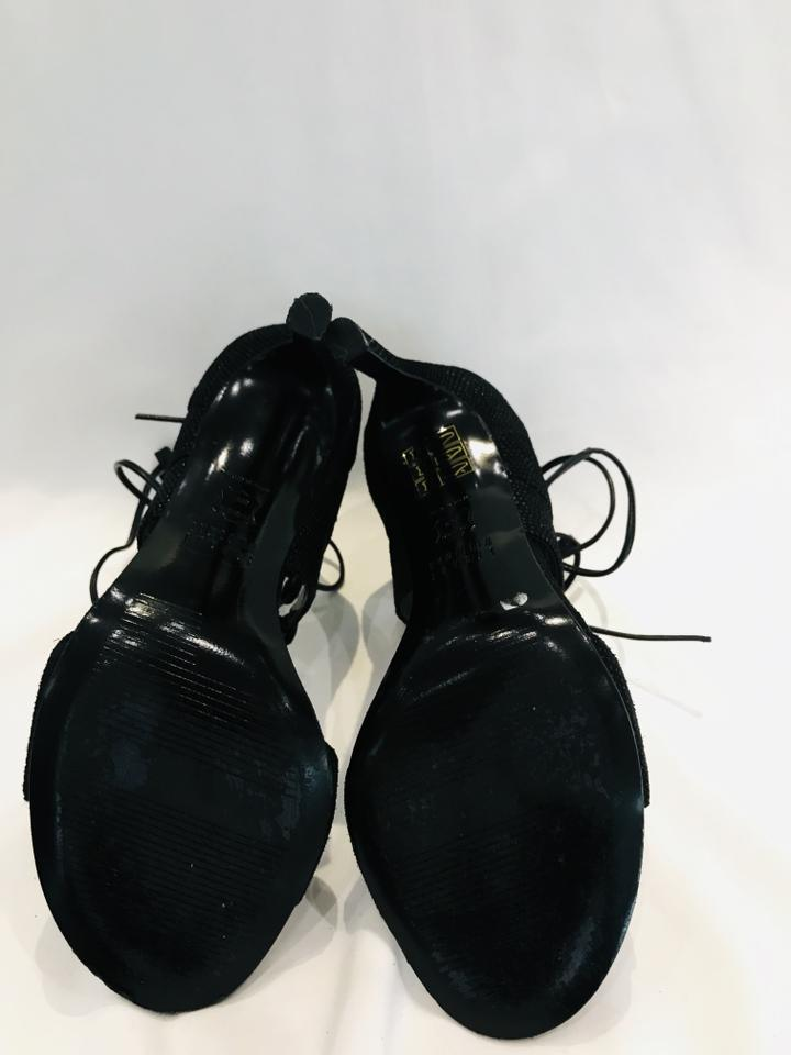 Stuart Weitzman Black Leg Wrap Lace-up Sandals Sz 5