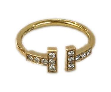 Tiffany & Co. Gold Yellow Diamond T Wire Ring Size 5