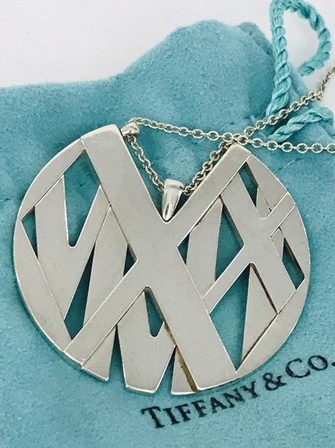 Tiffany & Co. Silver Atlas Round Medallion Pendant Necklace