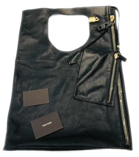 Tom Ford Alix Padlock & Zip Fold-over Cobalt Black Lambskin Leather Hobo Bag
