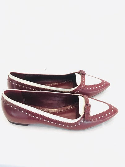 Tory Burch Burgundy Leather Brogue Flats Size US 6 Regular (M, B)