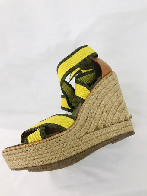 Tory Burch Green Yellow Adonis Espadrille Wedges Size 7.5