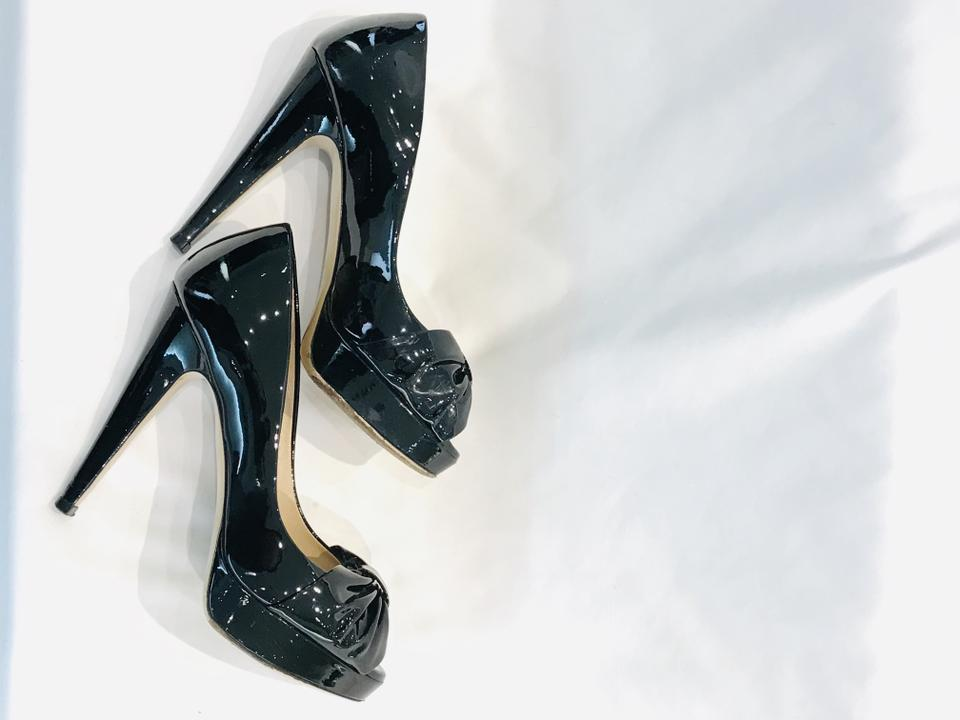 Valentino Black Bow Peep-toe Patent Leather Pumps Size 35