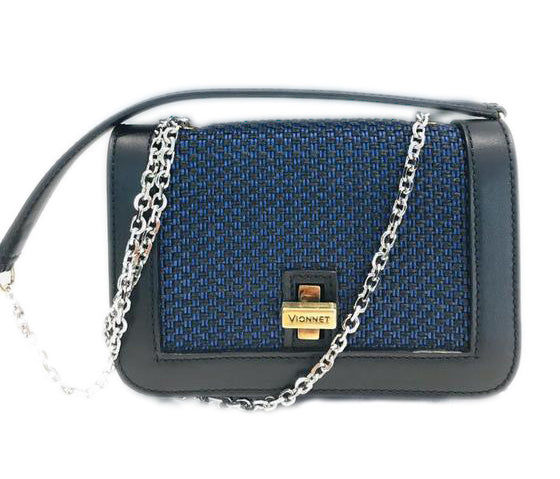 Vionnet Interwoven Blue Leather Cross Body Bag