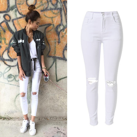 New Fashion Ladies White Ripped Jeans