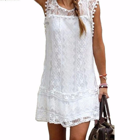 Summer Dress 2015 Sexy Women Casual Sleeveless Beach Short Dress Tassel Solid White Mini Lace Dress Vestidos Plus Size - Buy All Means - 1