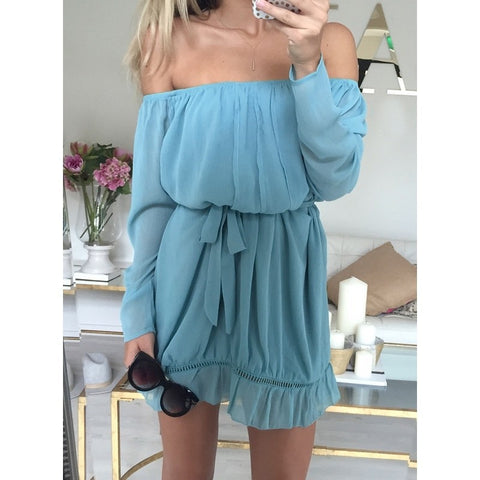Off Shoulder Long Sleeve Loose Mini Beach Dress - Buy All Means - 1