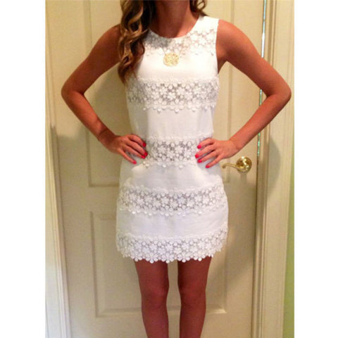 2016 Summer Sexy Women Casual Sleeveless Party Beach Dresses Lady Floral Lace Crochet Slim White Mini Dress Vestidos Plus Size - Buy All Means - 1