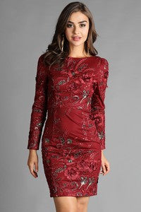 Embroidered fitted body con dress