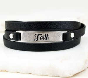Leather Faith Cuff