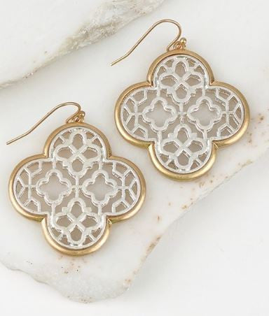 Two Tone Clover Earrings