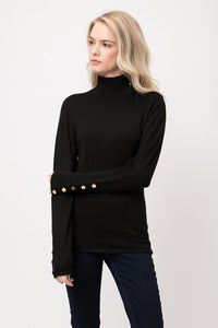 Buttoned mock neck