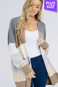 Rainbow Stripe Cardigan- Plus