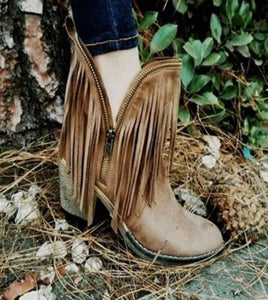 Taupe Fringe Booties
