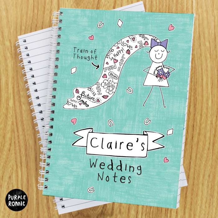 Personalised purple ronnie wedding notebook