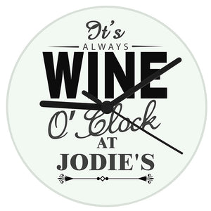 Personalised clock with wine o'clock