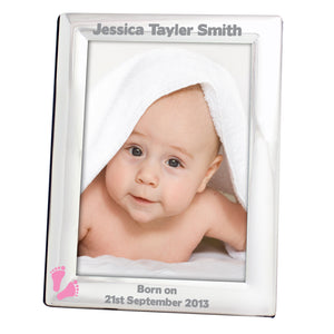 Personalised Photo Frame - Silver pink footprints