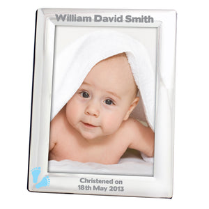 Personalised silver photo frame with blue footprints