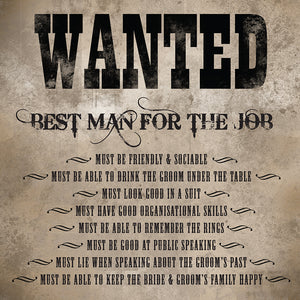 Wanted best man greeting card