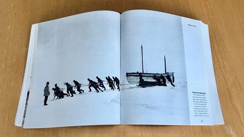 Hauling a lifeboat across the ice