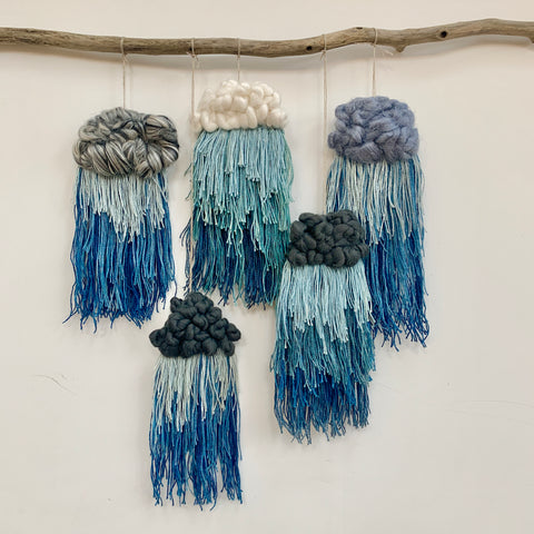 Rainy Days Wall Hanging Weaving Kit (Loom, Materials & E-book)