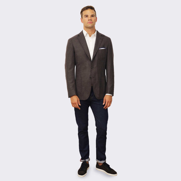 Cremieux 65 Mercer St. Flannel Blazer - brown heather