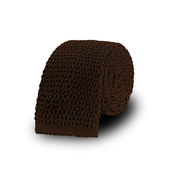 Jacquard knitted tie - Brown