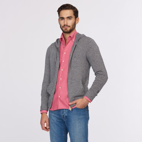Cotton Marled Hoody with Real Suede Elbow Patches - Grey