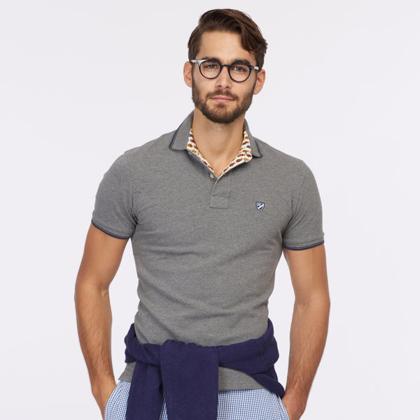 Polo with Contrast Trim – Grey