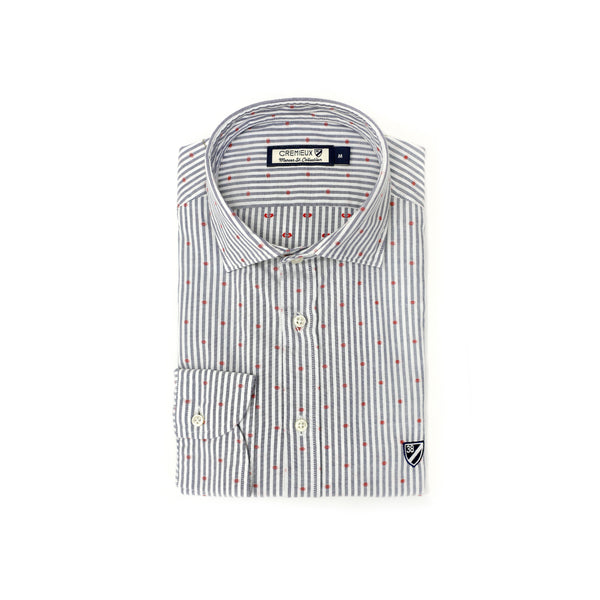65 Mercer st. Dot Print Shirt - White & Blue