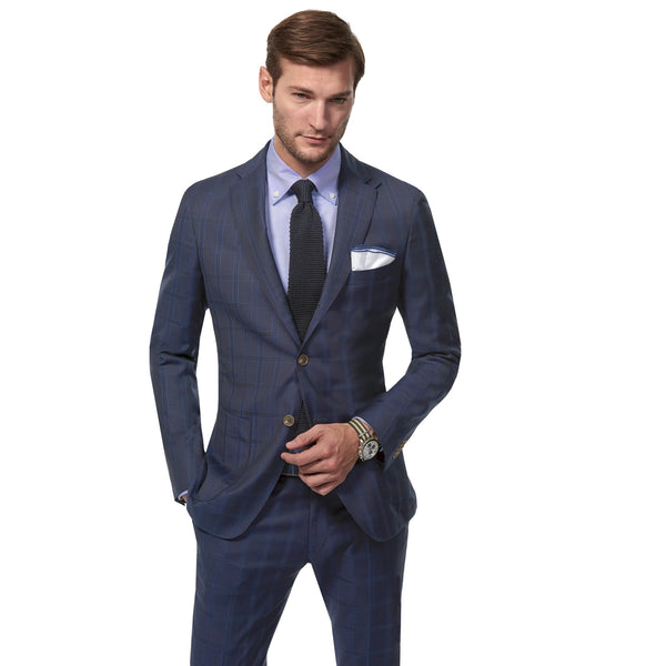 Navy Windowpane Ocean Suit