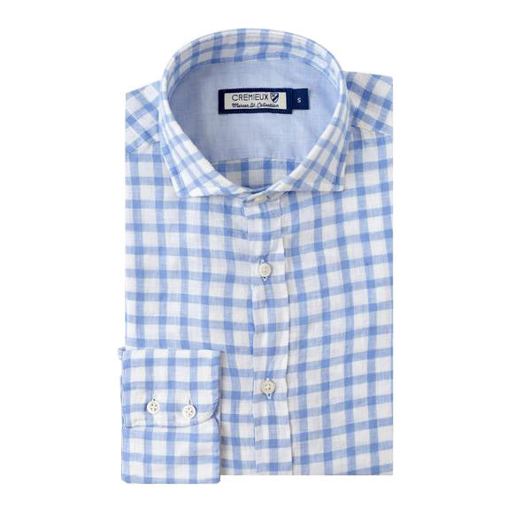 White & Blue Spread Collar Shirt