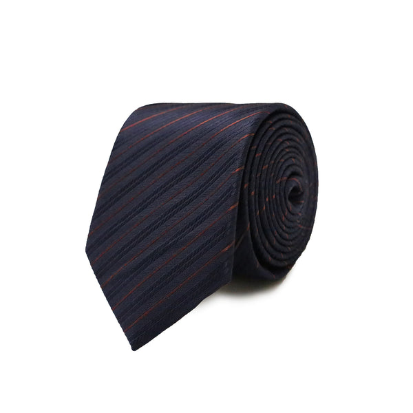 Burgundy bias stripes tie - navy