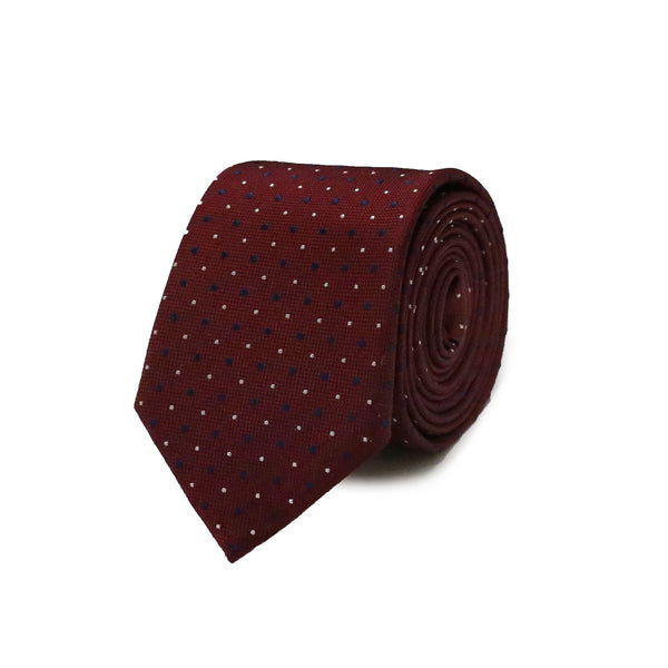 White & navy polka dots tie - burgundy