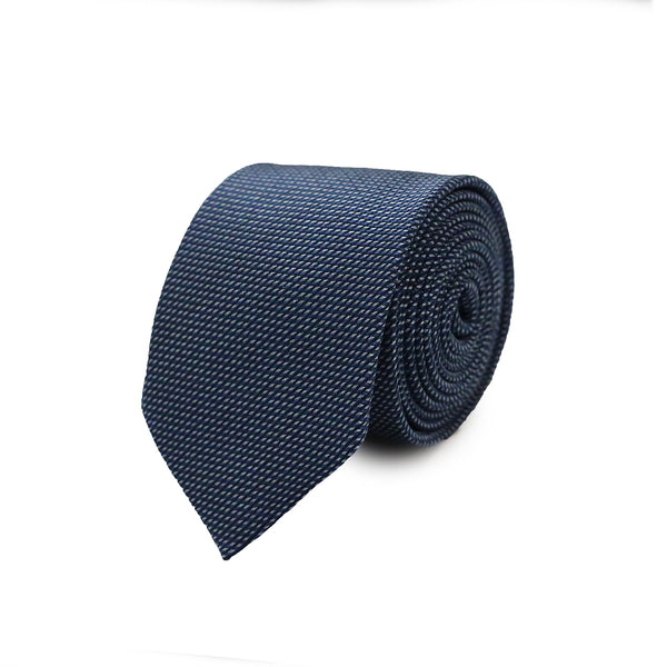 Horizontal and bias stripes tie - navy
