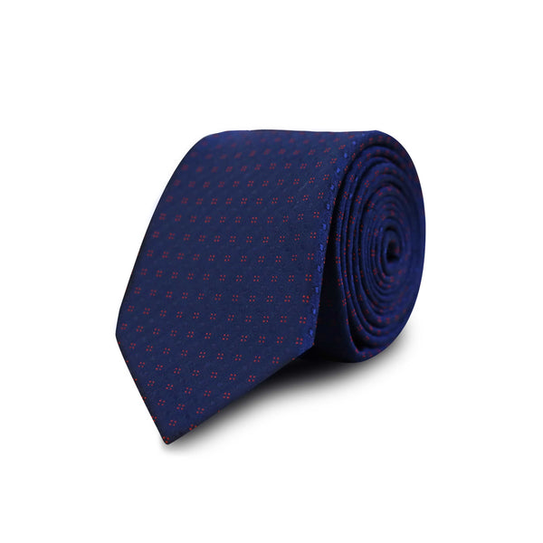 Red square & polka dots tie - navy
