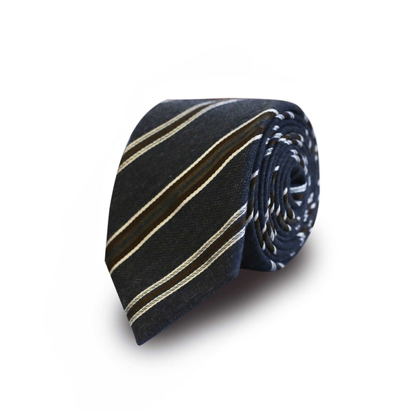 Brown club striped tie - grey & blue