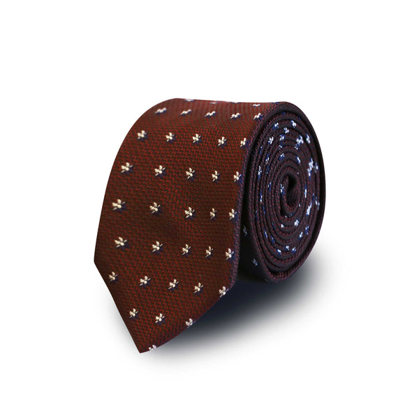 Blue white flowers tie - burgundy