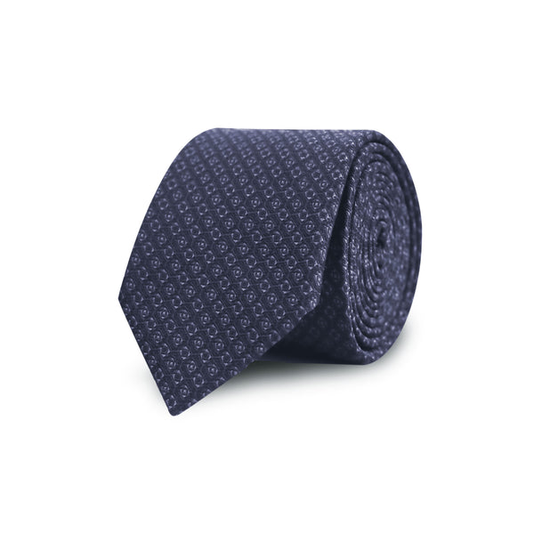 Jacquard graphic tie - navy & charcoal