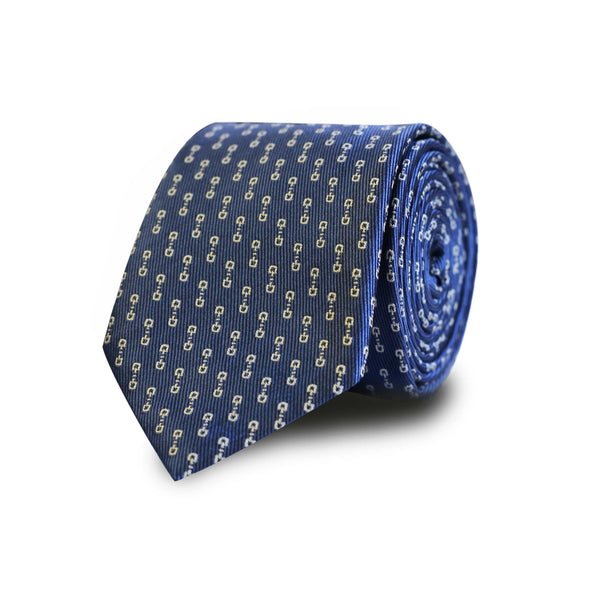 White horsebit tie - blue