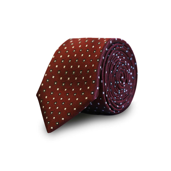 Black & white squares tie - burgundy