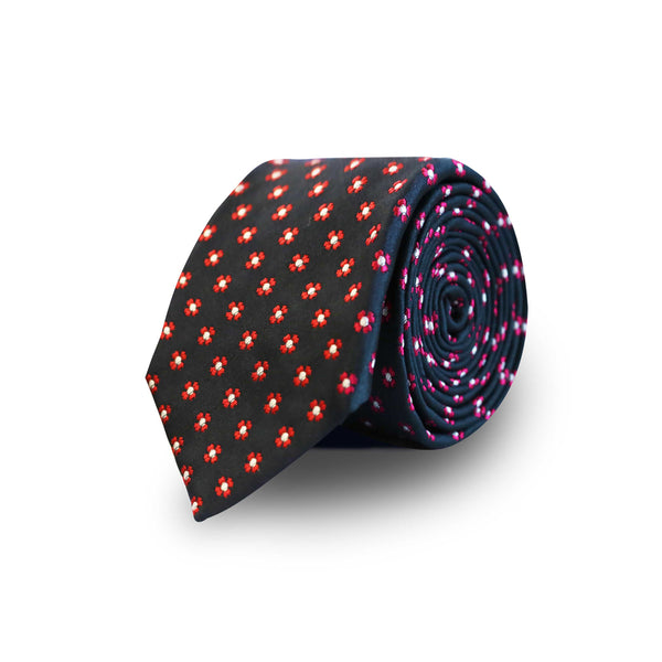 Red flowers tie - navy