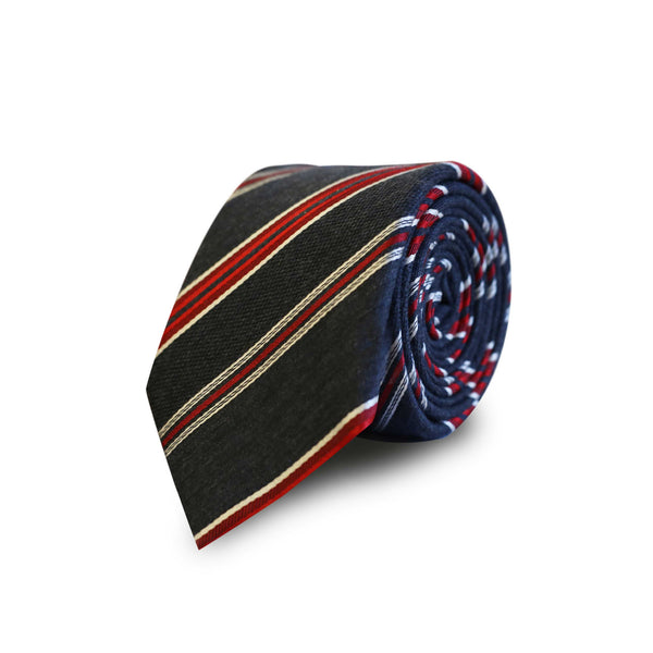 Red club stripes tie - grey