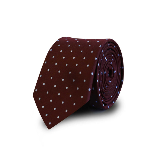 Sky blue cercles tie - burgundy
