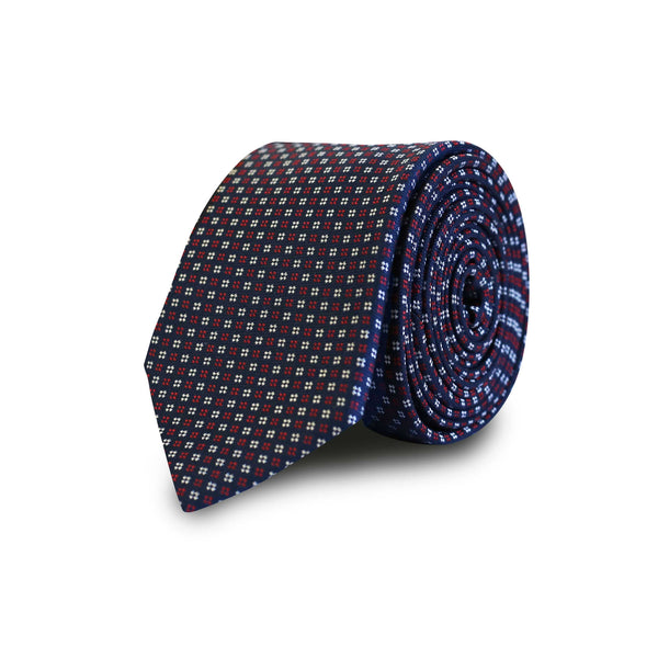 Red & white square dots tie - navy