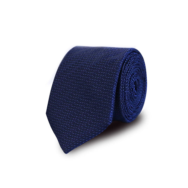 Jacquard solid tie - Navy
