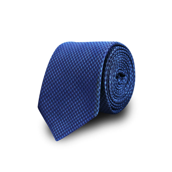 Jacquard houndstooth tie - blue